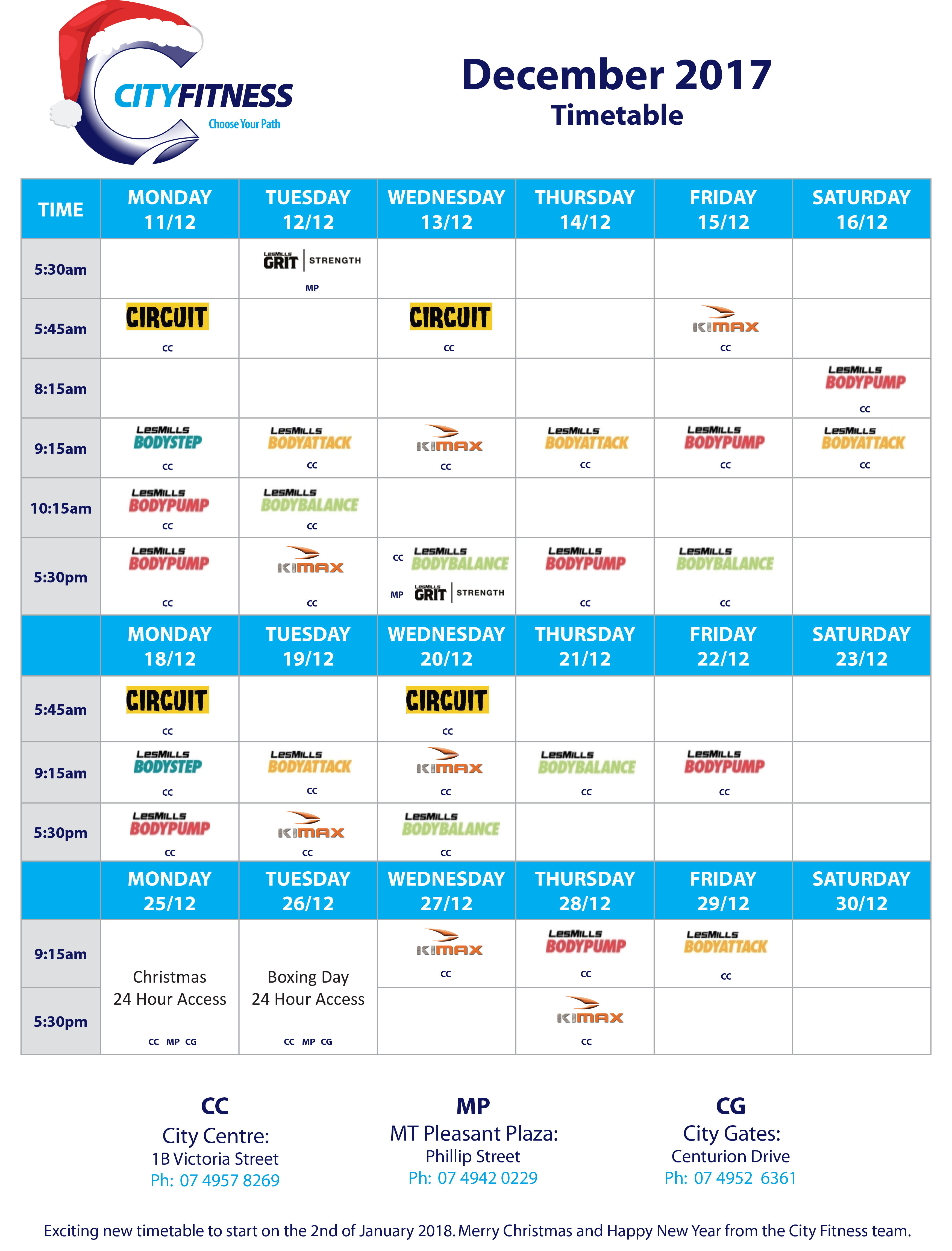 Group Fitness Time Tables