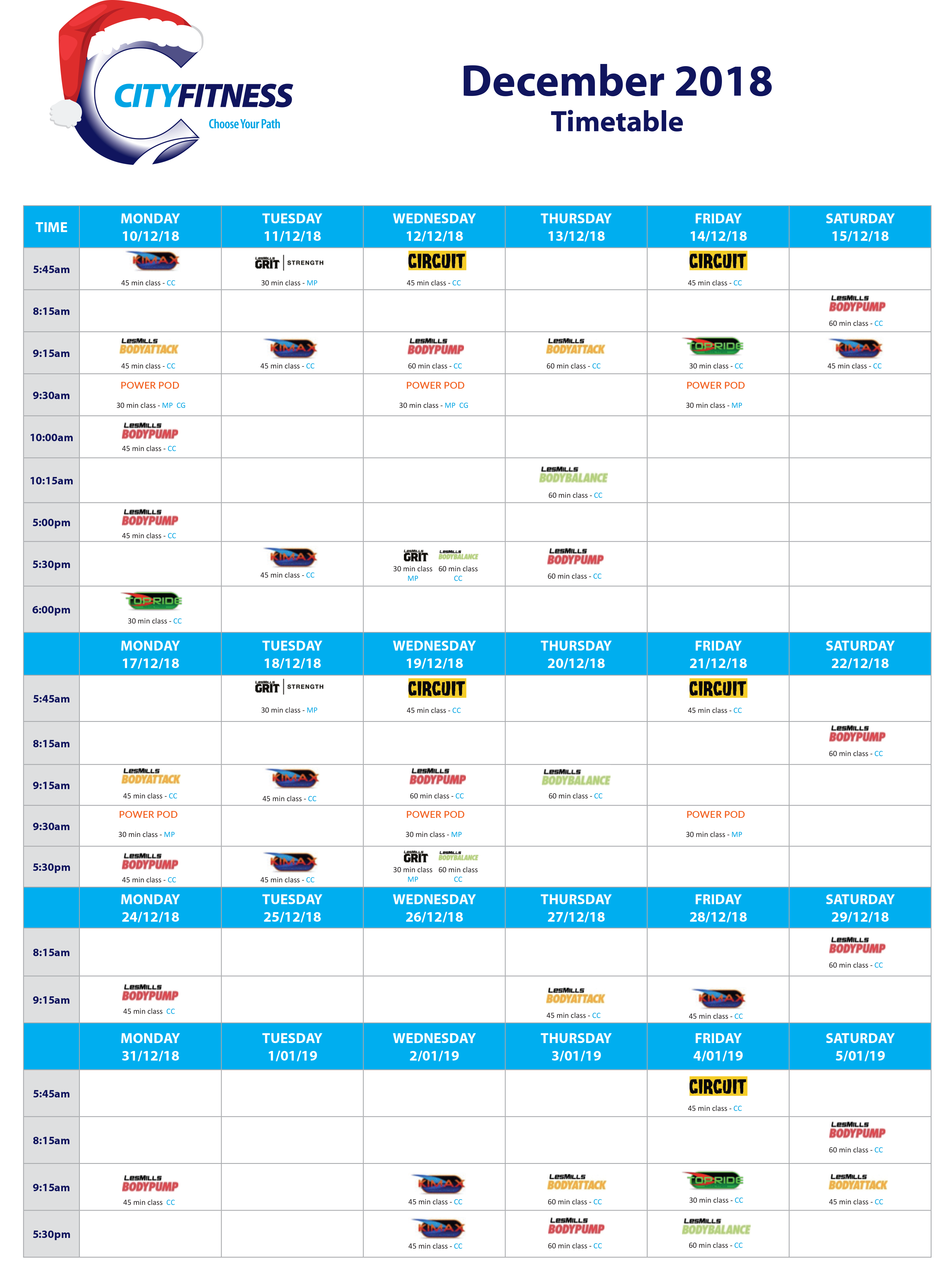 group fitness timetable city fitness