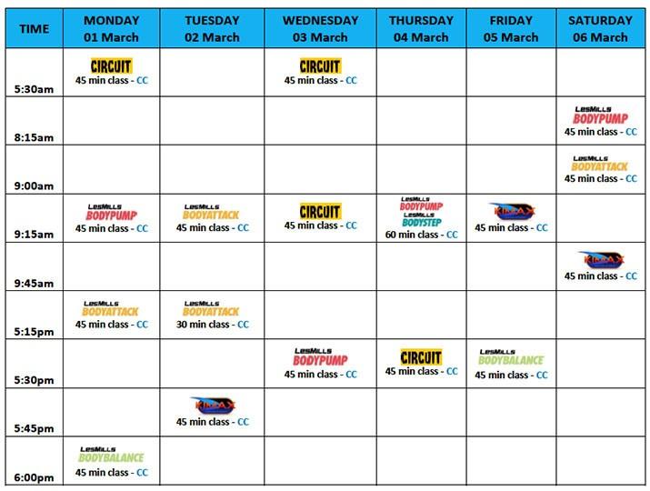 City Fitness Mackay Group Fitness Week of 22 February
