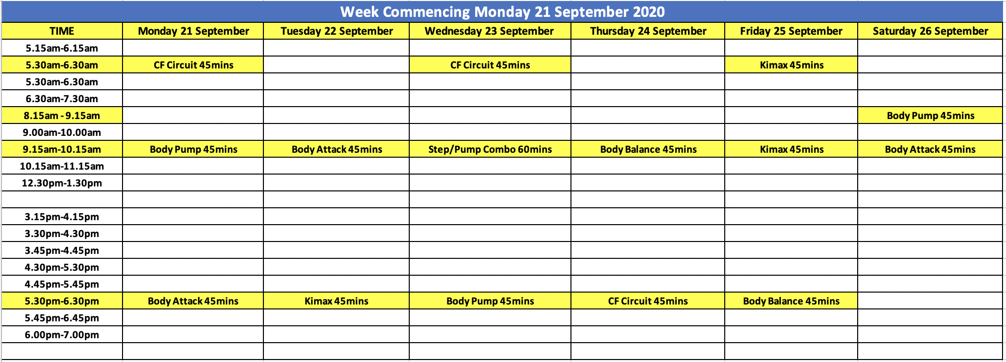 City Fitness Mackay Timetable 17 August