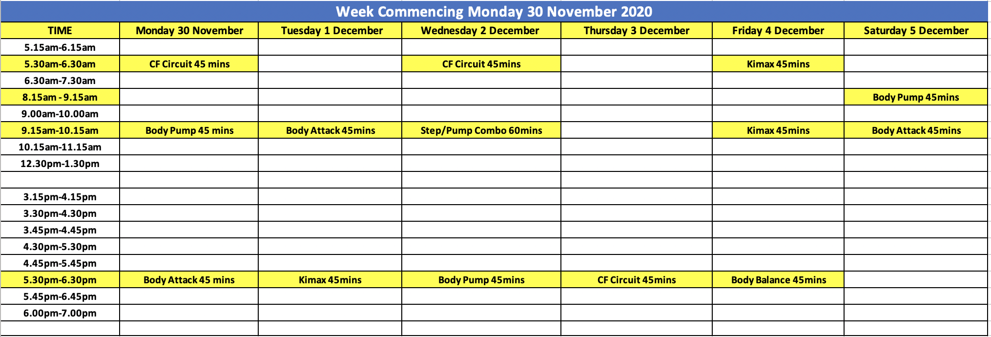 City Fitness Mackay Group Fitness Schedule Week of 30 November