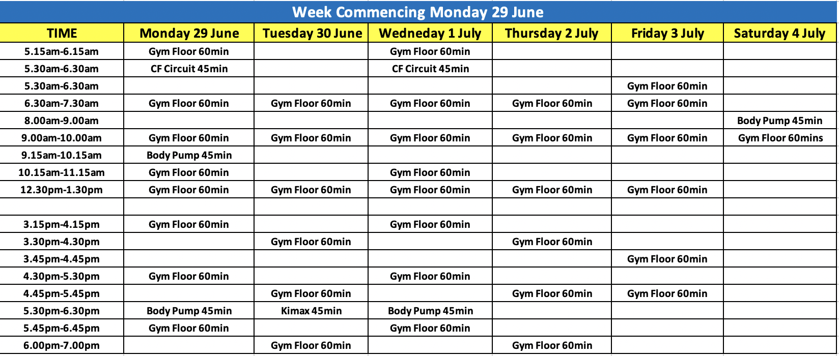 City Fitness Mackay Training Schedule Week of 29 June