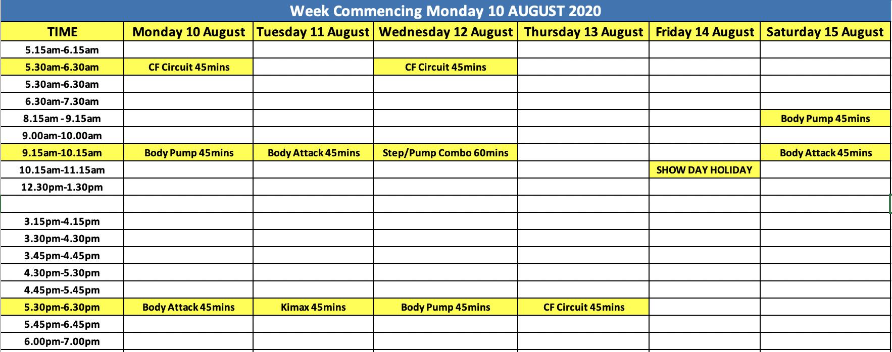 City Fitness Mackay Week of Aug 10 Schedule